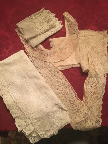 Exquisite Seven Pieces Vintage 1900s Lace, Collars, Sleeves, Curtain