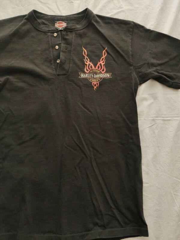 Mens Harley Davidson Motorcycle Fire Logo Henley Short Sleeve Shirt Medium