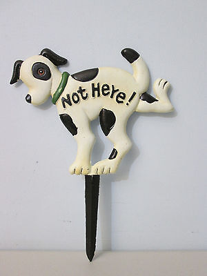"No Dog Poop Pee Yard Lawn Garden Sign Cast Iron Not Here 12""  NEW"