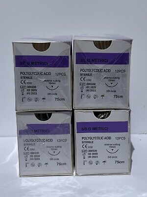 Veterinary Surgical Suture 30 Pga 4 Boxes 12box Polyglycolic Acid 19mm