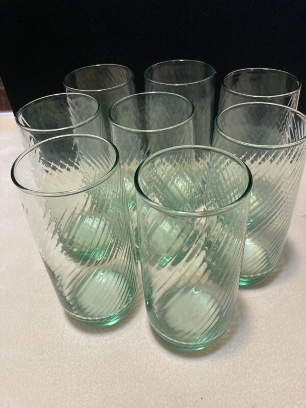 Vintage Libbey Blue Green SwIrl Set Of 8 Drinking Glasses 16 Oz.