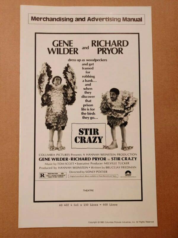 1980 STIR CRAZY PRESSBOOK GENE WILDER & RICHARD PRYOR