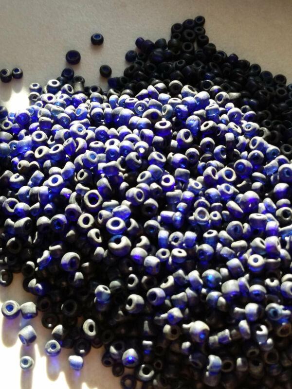 2 ounces/56g Old Blue Glass Naga Tribal Trade Beads (#7727)