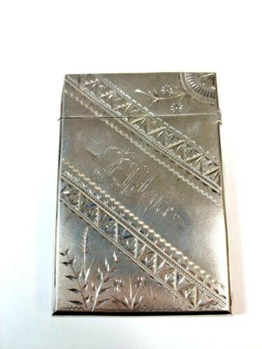 Vintage Sterling Silver Business Card Holder Etched Decorations