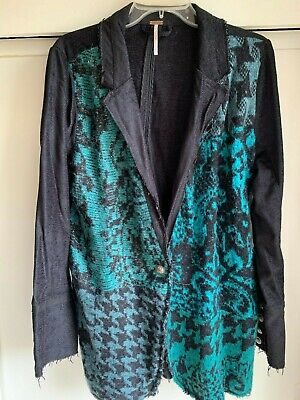 Free People Better Together Black & Turquoise Teal Jacket Blazer NWT size L