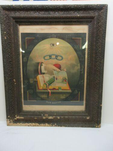 """Antique 1883 ODD Fellows Motto Print Framed All Original 35"""" x 29"""""""