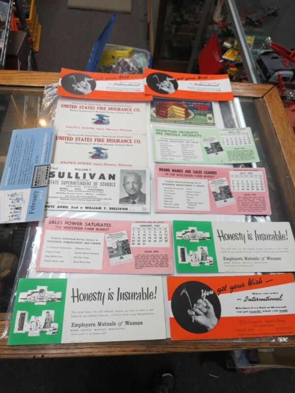 OLD INK BLOTTER ADVERTISING CARDS LOT