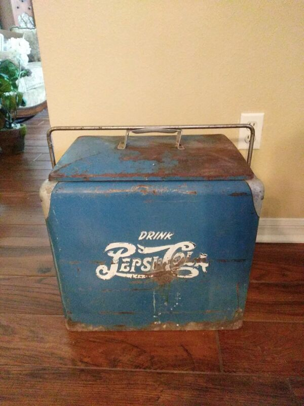 Large Blue Drink PEPSI Cola Cooler w/ Tray - Ice Chest Progress Refrigerator