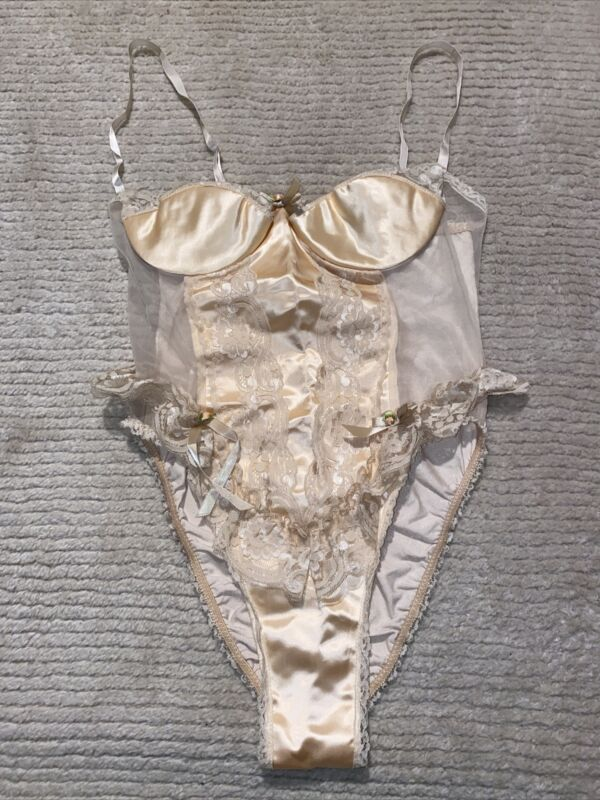 Vintage Emil Bole Peach Satin Sheer & lace Teddy Medium - SEXY