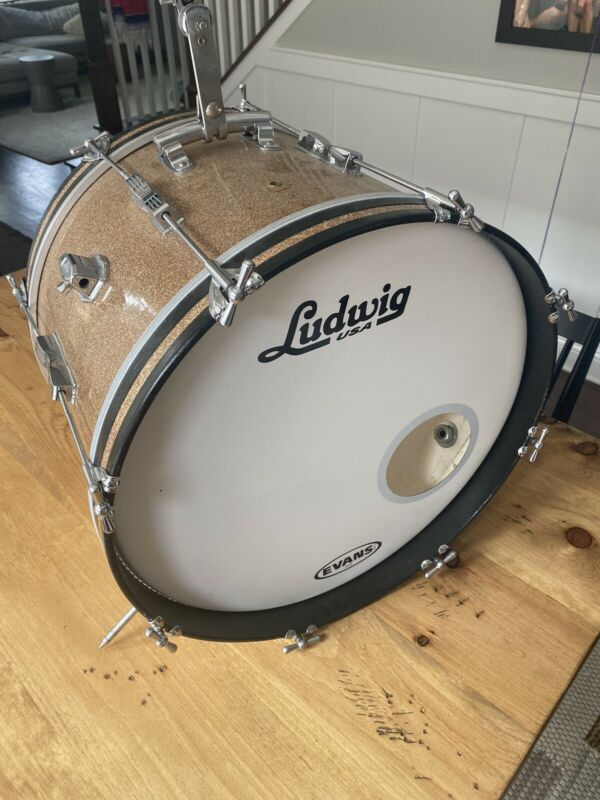 "1960's LUDWIG 20"" Champagne Sparkle CLUB DATE BASS DRUM All Original Vintage"