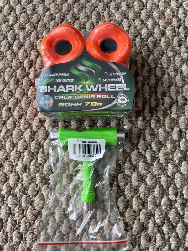 Shark Wheels Longboard Skateboard Sidewinder 60mm 78a Orange Free T Tool New!