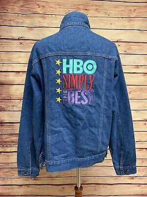 HBO SIMPLY THE BEST Blue Denim Jacket 100% Cotton Denim Vintage Trucker, Mens