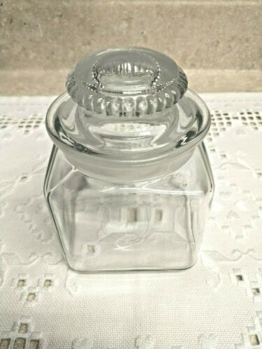 Vintage Square Squat Store Candy Jar w/ Ground Neck & Lid Apothecary