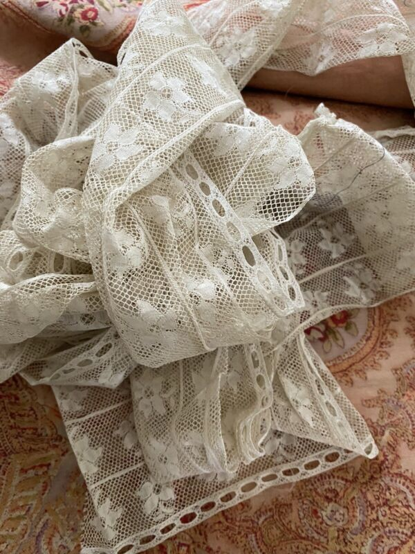 """French Antique French Tambour Lace Trim Wide Floral 3 Yards 6"""""""