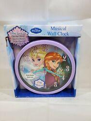 Disney Frozen Musical Wall Clock Elsa & Anna