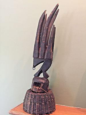 Antique African Bambara Headdress Chiwara Antelope Carved Wood Mali Tribal Art