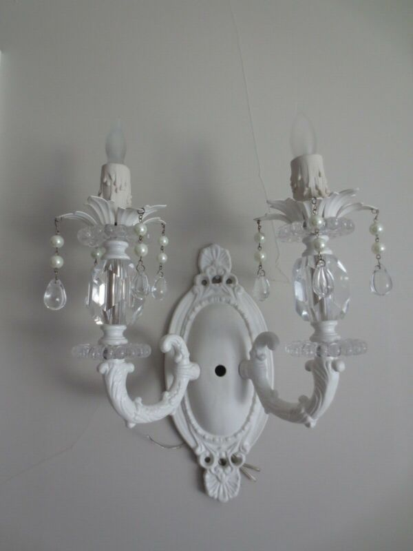 Pair of White Shabby Chic Style Sconces-Great in Rachel Ashwell style Home-NEW