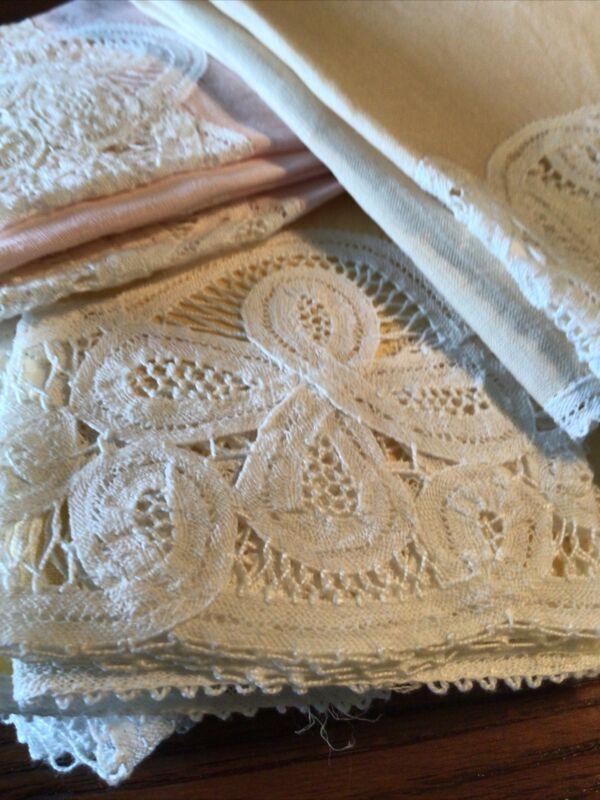 """Vintage Lot~14 Linen Battenburg Lace Bath Guest Towels 11""""x15"""". ($2.71) Unused."""