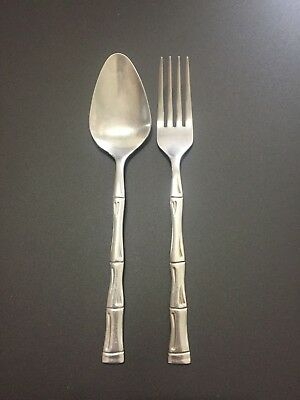 Bamboo Place Fork - Estia Bamboo Stainless Korea Japan Dinner Fork + Place Oval Soup Spoon