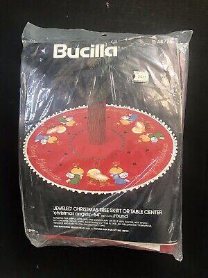 """Vintage Felt Bucilla Jeweled Christmas Tree Skirt Kit Christmas Angels 54"""" Round"""