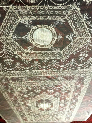 """100"""" Old Antique French Normandy Tambour Embroidery Net Lace Bedspread VERY GOOD"""