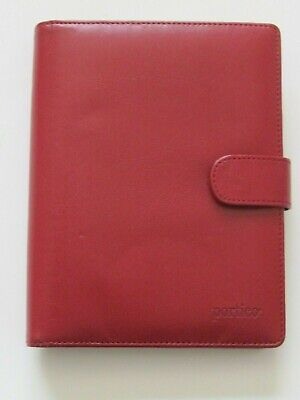 Portico Day Planner Organizer Red Faux Leather 6 Ring 7 12 X 6