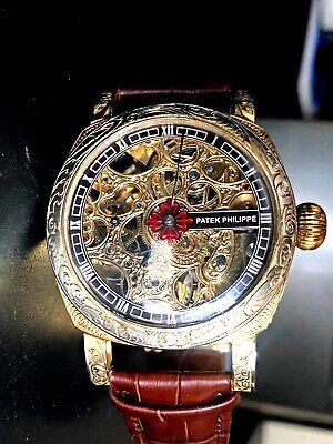 PATEK PHILIPPE Skeleton Antique 1883 Art Deco Watch Fabulous All Engraved