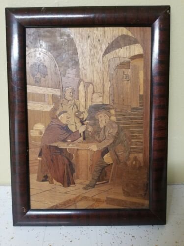 "Vintage Inlaid Marquetry Wood Art Plaque 17 x 11"" Medieval  Tavern scene"