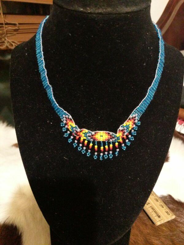 Native American Styled Beaded Choker lt blue