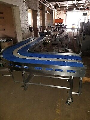 Stainless Steel 31 X 137 And 91 90 Degree Washdown Conveyor With Plastic Belt
