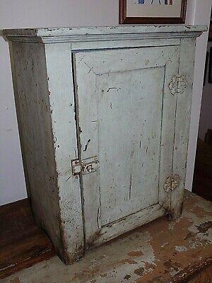 Primitive Old BLUE Paint Wood Cabinet Medicine Chest Original Condition