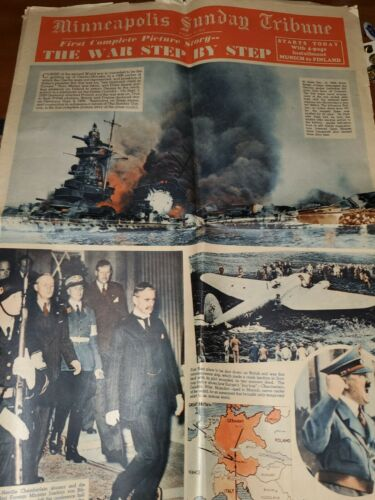 WWII Minneapolis Sunday Tribune Dated 1941 The War Step by Step