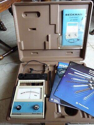 Beckman Chem-mate Benchtop Ph Meter W Manual Probe Mount Plastic Carrying Case
