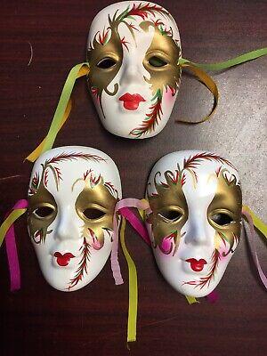 "Lot of 3 Theater Mardi Gras Ceramic Clay Face 4"" Masks Hanging Wall Art"