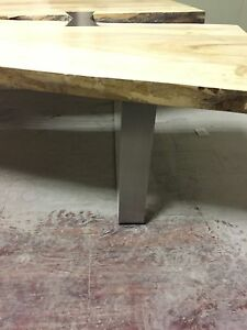 Live edge silver maple coffee table y-slab with stainless steel  Peterborough Peterborough Area image 4