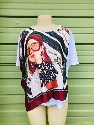 NWT ZARA WHITE MULTICOLORED ASYMMETRIC FACE PRINTED T-SHIRT Sleeves Size L 2488