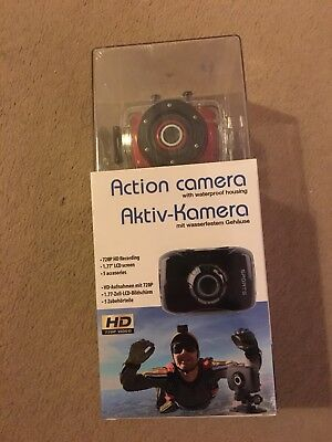 Action Camera with waterproof case and accessories. Only Black left not red
