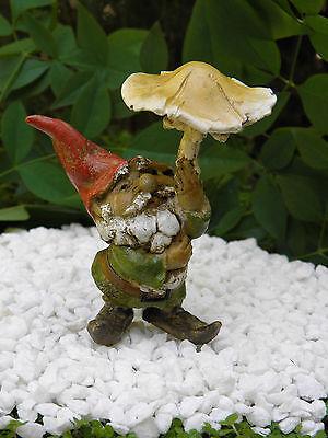 Miniature Dollhouse FAIRY GARDEN ~ Gnome with Mushroom Umbrella  ~ NEW