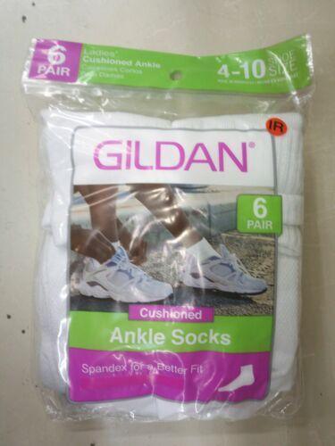New Woman GILDAN White ankle socks Packs of 6 Comfort Toe Se