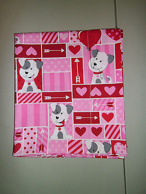 1-Puppy-Dog Love/Valentine's Day/Hearts Queen Size Pillowcase   New & Handmade!