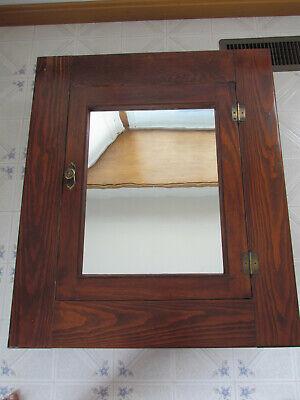 Antique Medicine Cabinet Wood w/ Mirror