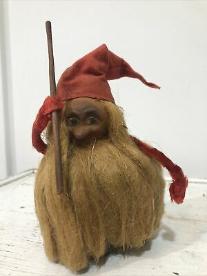 Vtg Paper Mache Swedish Troll Gnome Furry Hairy Sweden Ornament Figure Gonk