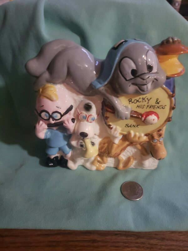 Rocky,  bullwinkle and friends ceramic savings bank with Mr peabody and sherman.