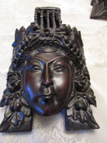 ANTIQUE  CARVING / MASK  ( WOMAN / BIRDS)