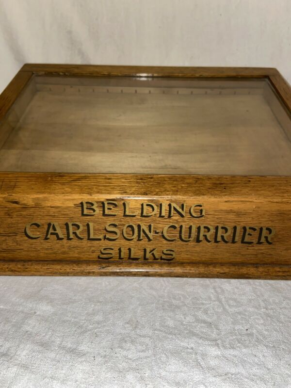 Antique Belding Carlson-Currier Silks/Sewing Cabinet Display Case General Store
