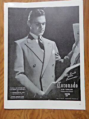 1945 Coronado Suits Fashion Ad the Suit of the Summer