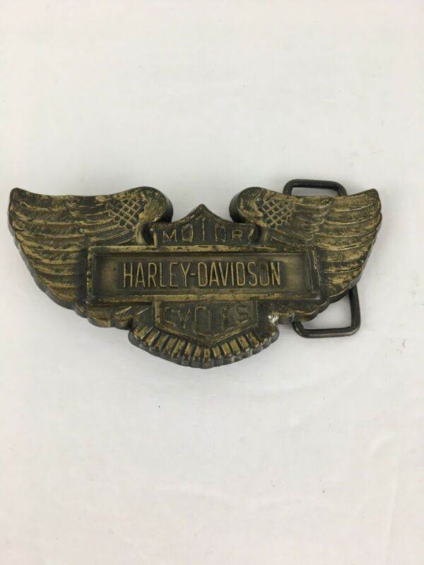 Vintage Harley Davidson Motorcycles Belt Buckle Eagle Wings Crest Brass