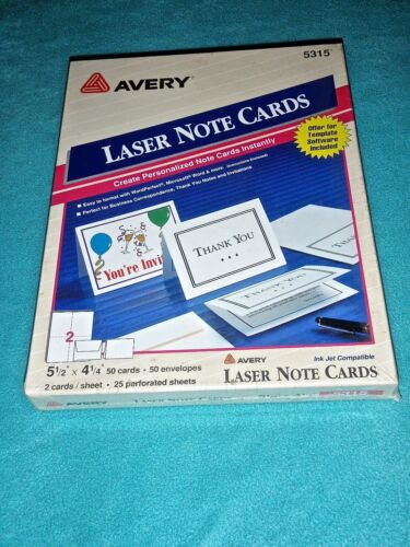 """AVERY LASER NOTE CARDS 5 1/2"""" x 4 1/4"""" 50 CARDS AND ENVELOPES #5315~ NEW!"""