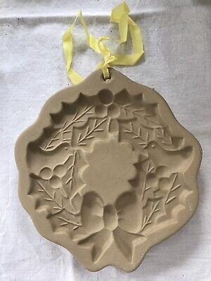 Vintage Brown Bag Cookie Art Mold Wreath w/Holly Berries 1988 Hill Design NEW