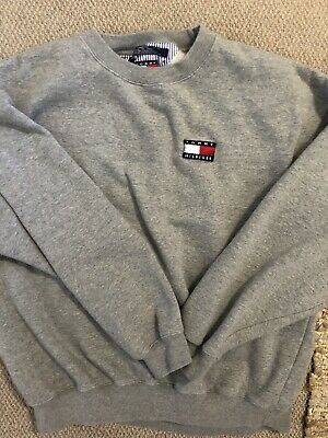 Vintage Tommy Hilfiger Flag Pullover Sweater Gray Mens Size XL Rare